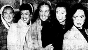 These Australian ballet girls have returned home after appearing in Malaya. They are (from left): Dolores Nolan, Brenda Charles, Gloria Davies, Joy Jarvis and Shirley Swan (Sunday Times, 9 August 1953, p. 29)